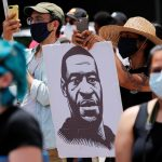 Protest against racial inequality in the aftermath of the death in Minneapolis police custody of George Floyd in Los Angeles